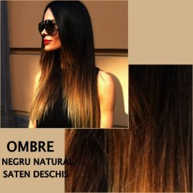 Trese de Par Diamond OMBRE Negru Natural / Saten Deschis