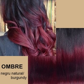 Extensii tape in  OMBRE Negru Natural / Burgundy