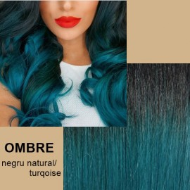 Extensii tape in  OMBRE Negru Natural / Turqoise
