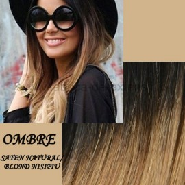Extensii Nanoring Ombre Saten Natural / Blond Nisipiu