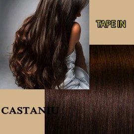 Extensii Tape In Castaniu Simplu