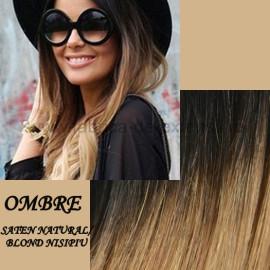 Mese de Volum cu Cordeluta Deluxe Ombre Saten Natural / Blond Nisipiu