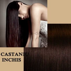 Extensii Front Lace (Semiperuca) DeLuxe Castaniu Inchis