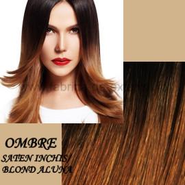Extensii Front Lace (Semiperuca) DeLuxe Ombre Saten Inchis Blond Aluna