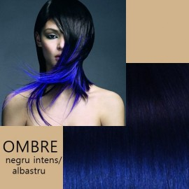 Extensii Front Lace (Semiperuca) deluxe  Ombre Negru Intens / Albastru