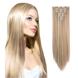 Clip-On Drept Sintetic Blond-Suvitat